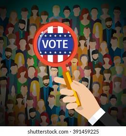 Concept of voting. US Presidential election 2016. Flat design, vector illustration.