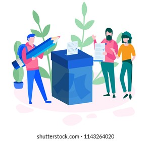 Concept Voting for web page, banner, presentation, social media, documents, cards, posters. Vector illustration Man are putting their ballot papers into the big paper voting box, E-voting