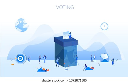 Concept Voting for web page, banner, presentation, social media, documents, cards, posters. Vector illustration Female are putting their ballot papers into the big paper voting box, E-voting