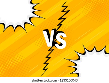 Concept VS. Versus. Fight. Yellow retro background comics style design with halftone, lightning. Modern flat style vector illustration.