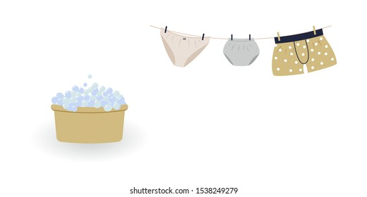 Concept of washing and drying: washed cute family underwear. Man boxers, woman knickers and child pants hanging on clothesline and they are attached by clothespins.Wash basin with soap foam. Vector