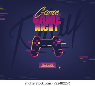 """Concept web banner with joystick and sign """"GAME NIGHT""""."""