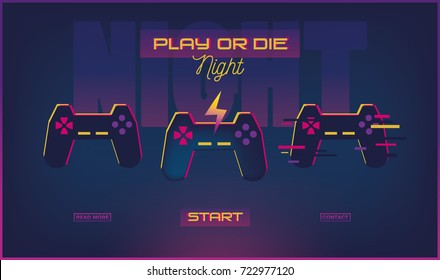 "Concept web banner with joystick and sign ""GAME NIGHT""."