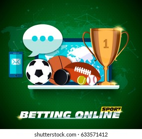 Concept for web banner sports betting statistics. Flat design icons for sports theme. Football, basketball, hockey betting. Vector EPS10