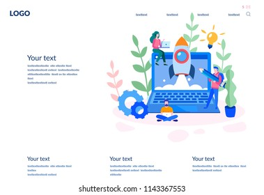 Concept web design development, creative website template, for web page, banner, presentation, social media, documents, cards, posters. Vector illustration business apps, marketing, startup, team work