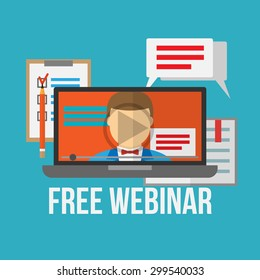 Concept for webinar, online learning, professional lectures in internet. Flat style vector illustration.