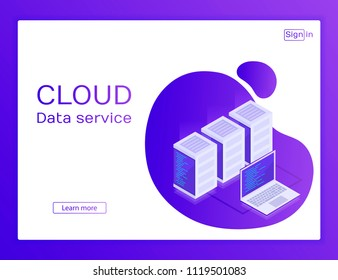 Concept website. Data network management . Website. Vector isometric map with business networking servers and laptop.Cloud storage data and synchronization of devices. Modern vector ilustration.