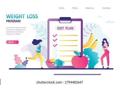 Concept of weight loss program, low-carb diet, healthy meal food. Women go in for sports and eat healthy food. Female characters does fitness. Landing page or website template.Flat vector illustration