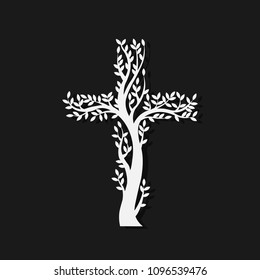 Concept of white christian cross in the form of tree on black background. Vector illustration.
