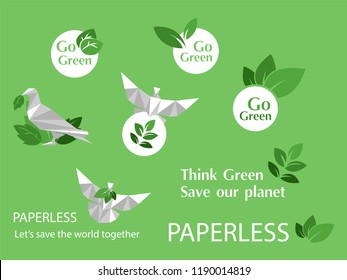 concept of white paper bird fly paperless go green logo, save the planet, earth, tree, leaf logo design, polygonal, Abstract, low poly style flat vector.