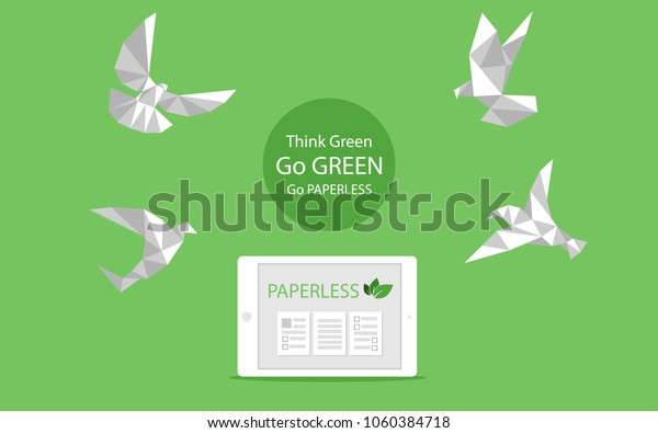 Concept of white paper bird fly paperless go green, save the planet. Low polygonal style flat vector.