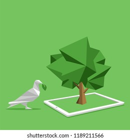concept of white paper bird paperless go green, save the planet, earth, tree, leaf logo, documents, digital, big data, business device, tablet, polygonal, Abstract, low poly style flat vector.