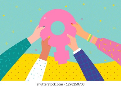 Concept of woman power. Women hand showing a female sex or alchemical Venus symbol. International women s day. Flat design, vector illustration.