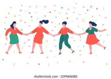 Concept of woman power. Women holding hands. Happy people standing in row together. Happiness and friendship. International women s day. Flat design, vector illustration.