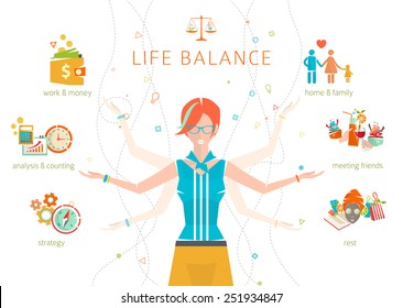 Concept of work and life balance / dividing of human energy between important vital spheres / Vector illustration.