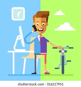 Concept of work and life balance. Handsome businessman in formal suit the office on the left part and he in sportswear with bicycle on the right. Vector illustration on flat design.