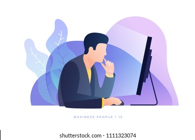 Concept of work in office. Businessman carefully looks at screen monitor and analyzes data. Modern flat style vector illustration.