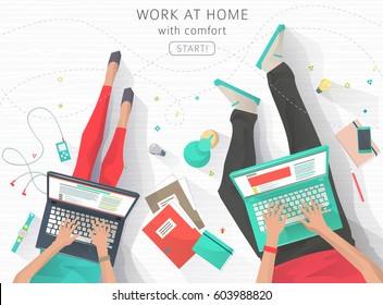 Concept of working at home. Relaxation. Work wherever you want with pleasure. Creating ideas. E-learning. Freelance. Flat vector illustration.