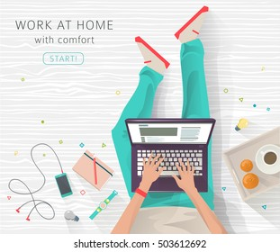 Concept of working at home. Work wherever you want in comfortable conditions. Creating ideas. Freelance.