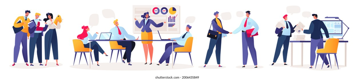 Concept of working in office. Office workers, businessmen, female and male characters working together colleagues. Meetings, signing agreements, concluding contracts, working at computers and laptop