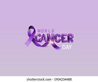 The concept of World Cancer Day with a lavender ribbon and letters in the form of metal balls. Vector illustration