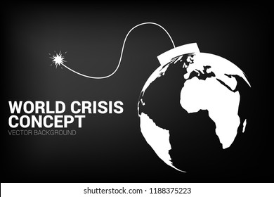 concept of world crisis, world war.  time bomb with earth planet world map.