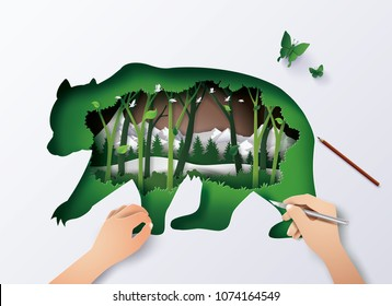 Concept of World Wildlife animal,double exposure with bear and forest, Paper art and digital craft style.