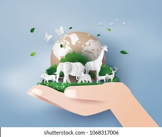 Concept of World Wildlife Day and environment with the animal in forest , Paper art and digital craft style.