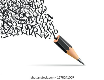 Concept of writing and literature with a pencil from which escapes the letters of the alphabet symbol of inspiration