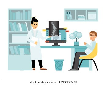 Concept x-ray female doctor character medical examination room, person receives physician consultation isolated on white, flat vector illustration. Woman therapist hold xray leg image.