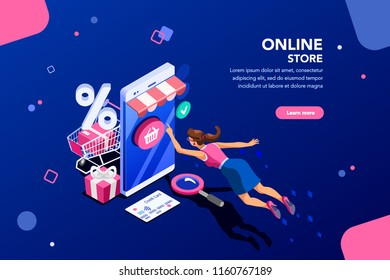 Concept of young buyer online using smartphone items. Consumer and fashion e-commerce, consumerism or sale concept. Characters, text for store. Flat isometric infographic images vector illustration