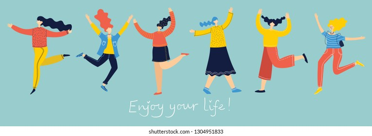 Concept of young people jumping on blue background. Stylish modern vector illustration card with happy female teenagers and hand drawing quote Enjoy your life