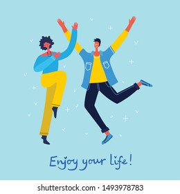 Concept of young people jumping on blue background. Stylish modern vector illustration card with happy male and female teenagers and hand drawing quote Enjoy your life