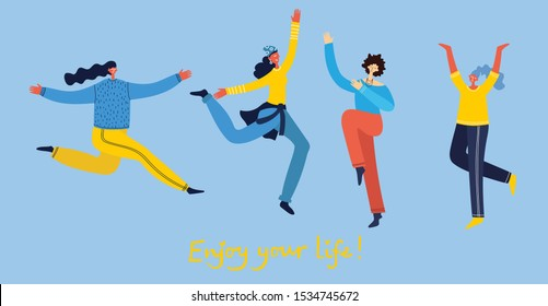 Concept of young people jumping on blue background. Stylish modern vector illustration card with happy  female teenagers and hand drawing quote Enjoy your life - Shutterstock ID 1534745672