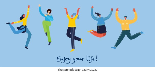 Concept of young people jumping on blue background. Stylish modern vector illustration card with happy female and male teenagers and hand drawing quote Enjoy your life - Shutterstock ID 1537401230