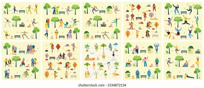 Concept of young peoplewalking, running and jumping in the park. Stylish modern vector illustration card with happy male and female teenagers