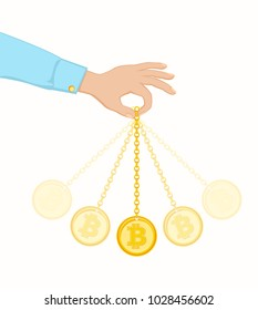 Conception of exchange rate bitcoin. Well known trick of hypnotists. Coin swing like a pendulum. Vector illustration EPS-8.