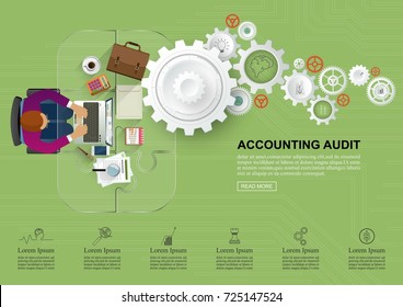 Concepts for auditing. Auditor examination of financial report. Tax process. Research, project management, planning, accounting, analysis, data and investment. Vector for website banners.
