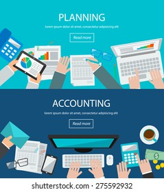Concepts for business planning and accounting, analysis,  audit, project management, marketing, research in flat design style. Web banners set with top view desk, people, laptop,  computer, tablet,