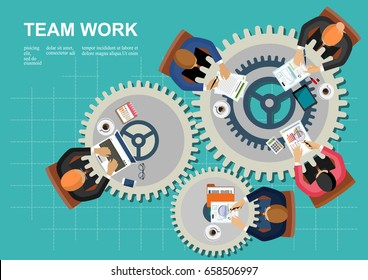 Concepts for business teamwork.solution and innovation analysis and,consulting, project management,financial report and strategy team . vector illustration.