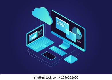 Concepts Cloud storage. Computer, laptop, smartphone on blue background. Synchronization and storage of data.3d isometric flat design. Vector illustration.