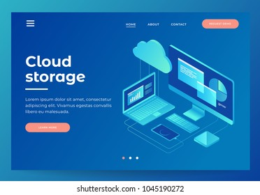 Concepts Cloud storage. Header for website with Computer, laptop, smartphone on blue background. Design for Landing Page. 3d isometric flat design. Vector illustration.