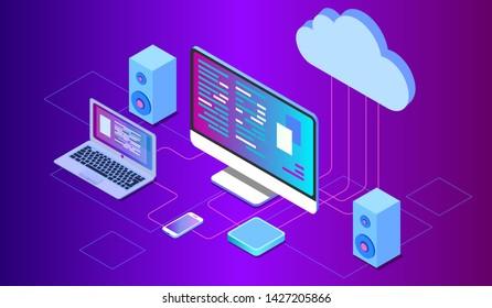 Concepts Cloud storage. Header for website with Computer, laptop, smartphone on blue background. Design for Landing Page. 3d isometric flat design. Vector illustration. EPS