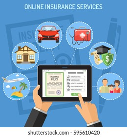 Concepts online insurance services. Man holding tablet pc in hand and touching buy app. flat style icons Car, House, Medical, Education and Vacation. Isolated vector illustration