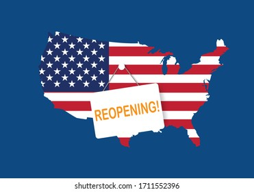 Concepts of reopening America after quarantine the country for prevention coronavirus pandemic outbreak. Illustration of USA map and open sign