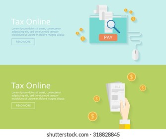 Concepts for taxes, finance, bookkeeping, accounting, business, stock market, market research, etc. Pay bills tax online receipt via computer or laptop. vector illustration - stock vector