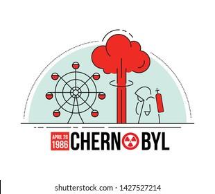 Concepts thin line of Chernobyl. Editable vector stroke.