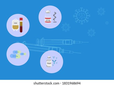 Concepts of treatment options for coronavirus infection. Vector illustration of antivirus drug, plasma, mRNA vaccine, monoclonal antibody and syringe on blue background.