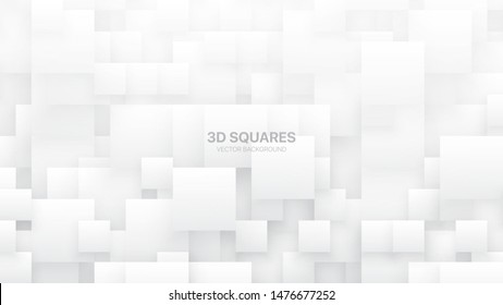 Conceptual 3D Vector Different Size Square Blocks Technologic White Abstract Background. Science Technology Tetragonal Structure Light Wallpaper. Tech Clear Blank Subtle Textured Backdrop