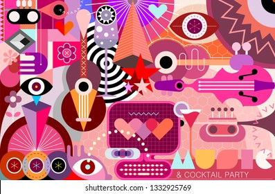 Conceptual Abstract Art design with musical instruments, cocktails and geometric shapes vector illustration.